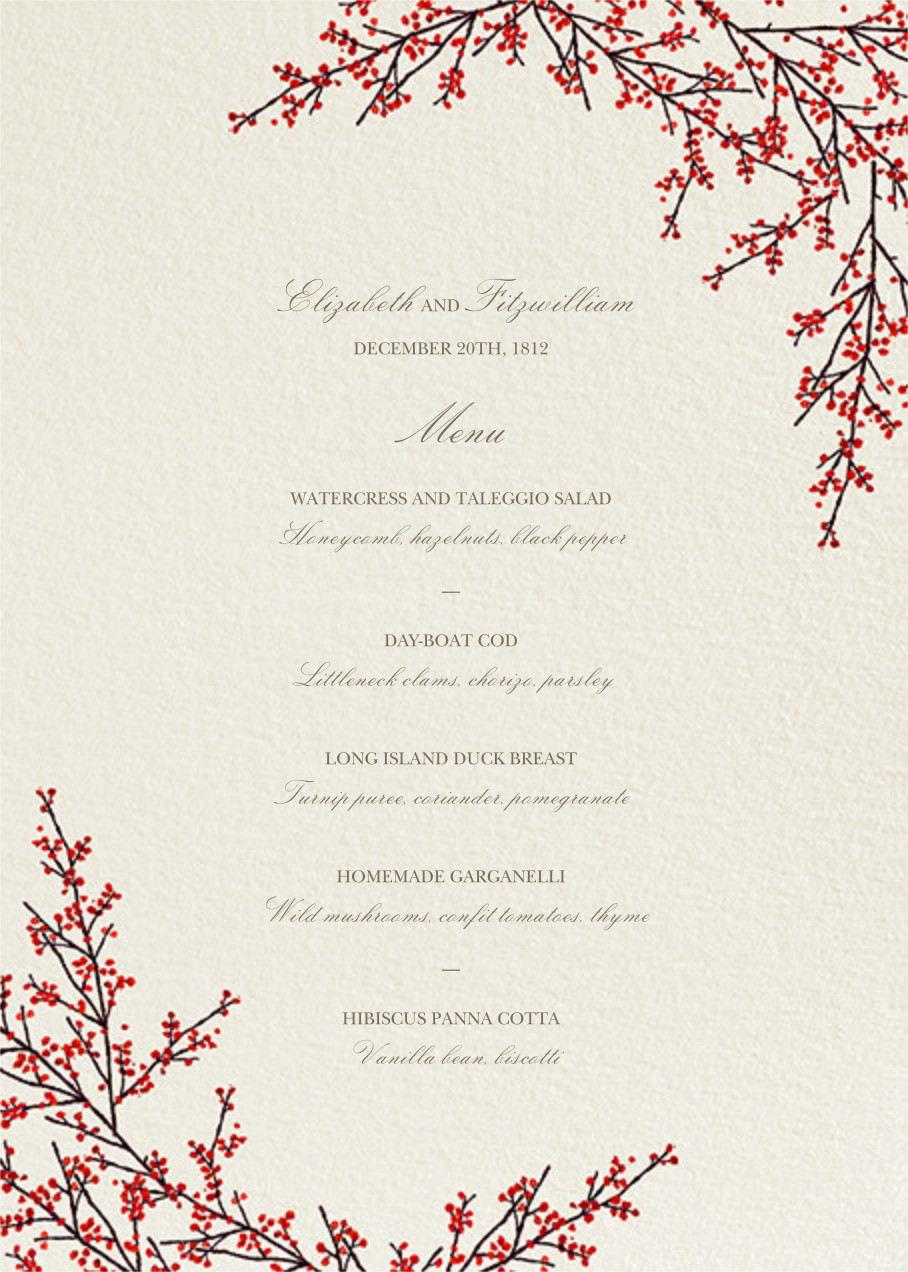 Cranberry (Menu) - Felix Doolittle - Menus