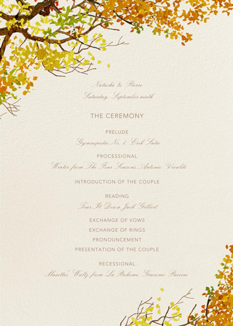 Autumn Bough (Program) - Felix Doolittle - Menus and programs