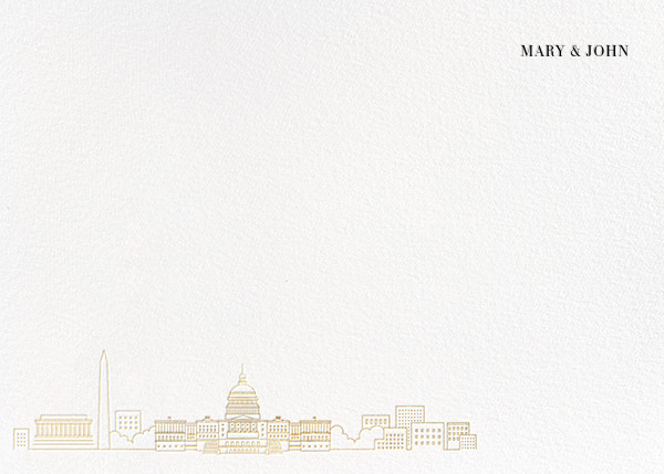 D.C. Skyline View (Stationery) - White/Gold - Paperless Post - Personalized stationery