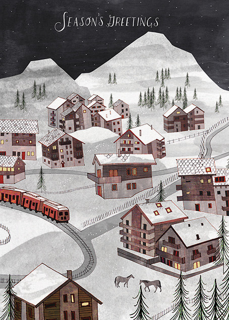 Winter Village (Josie Portillo) - Red Cap Cards - Holiday cards