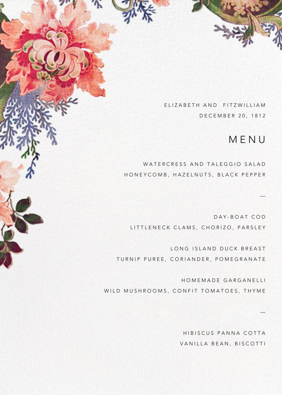 Rose Floral Ikat (Menu) - White - Oscar de la Renta - Menus and programs