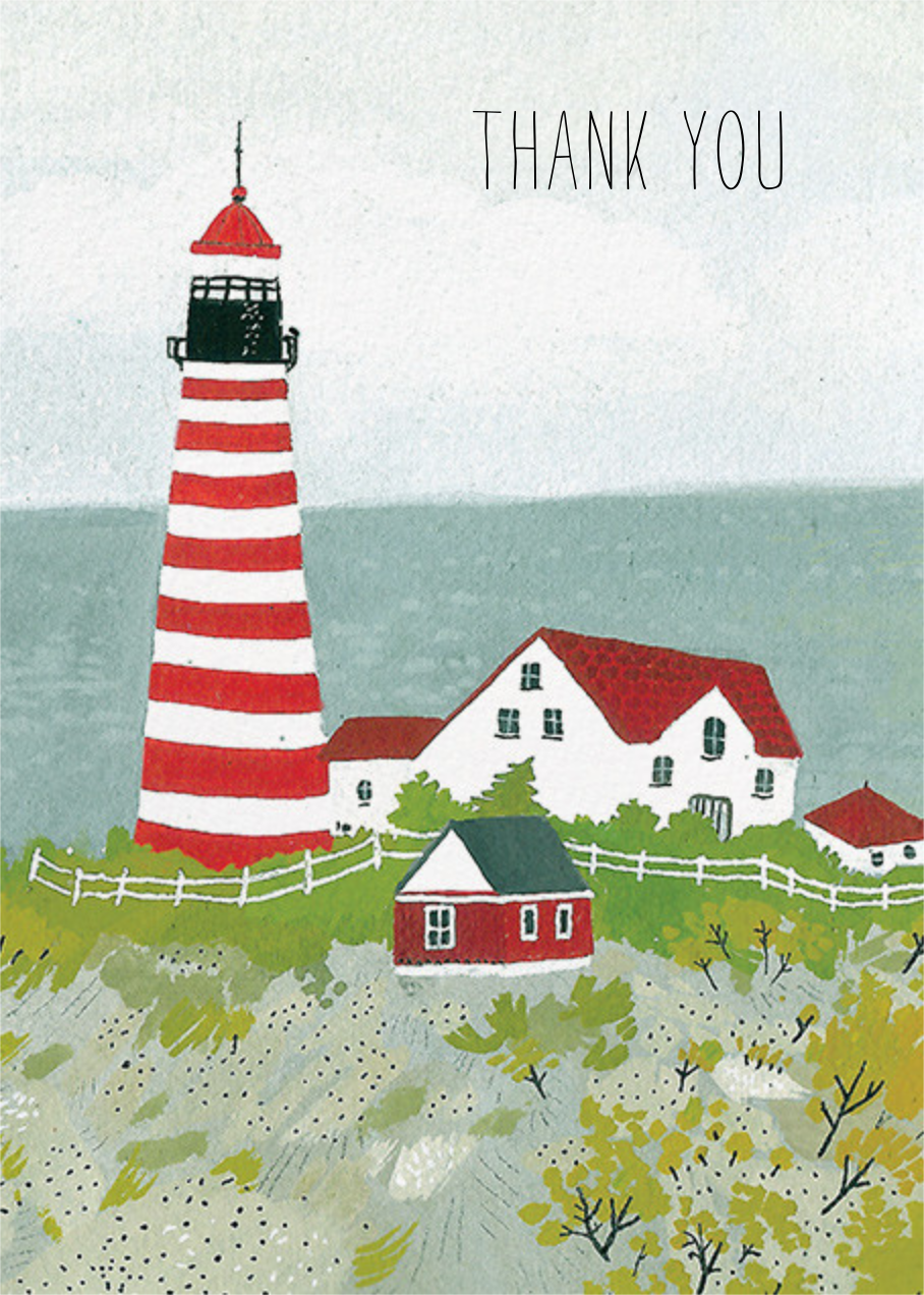 Maine Lighthouse (Becca Stadtlander) - Red Cap Cards - Thank you