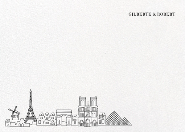 Paris Skyline View (Stationery) - White/Black - Paperless Post - Personalized stationery