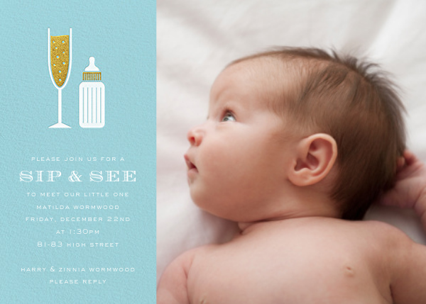 Sip & See (Photo) - Light Blue - Paperless Post - Baby shower