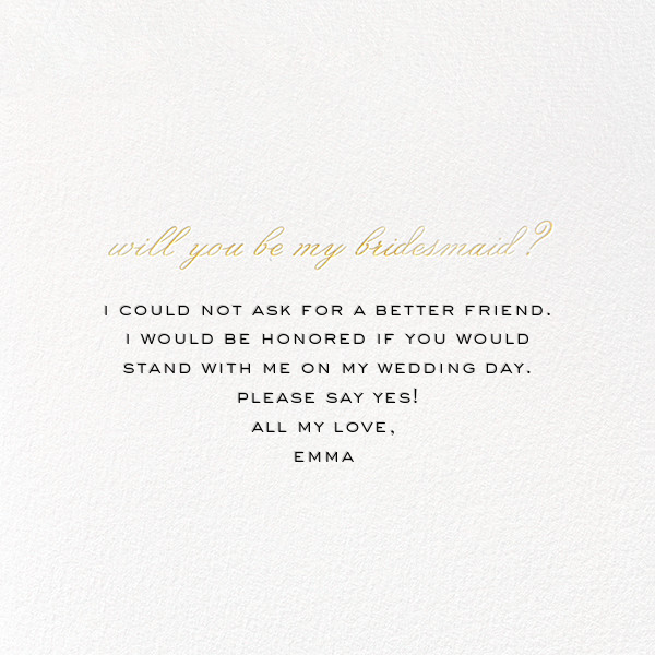 Bridesmaid BFF - kate spade new york - Wedding party requests - card back