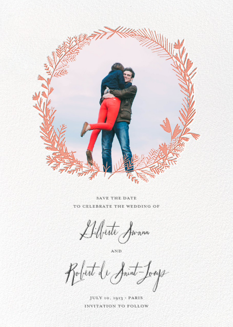 Miss Mimi Margeaux II (Photo Save the Date) - Coral - Mr. Boddington's Studio - Save the date