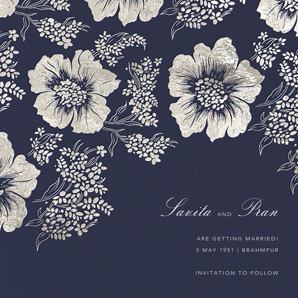 Falling Poppies II (Save the Date) - Navy/Silver - Oscar de la Renta - Save the date