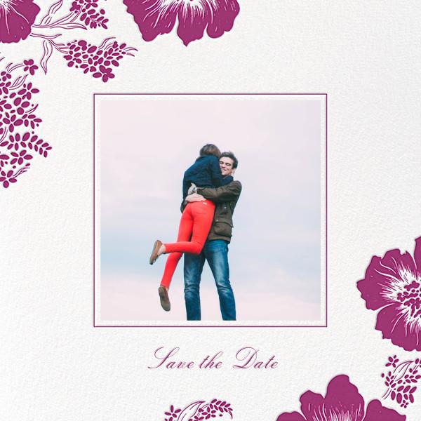 Falling Poppies II (Photo Save the Date) - Ivory/Raspberry - Oscar de la Renta