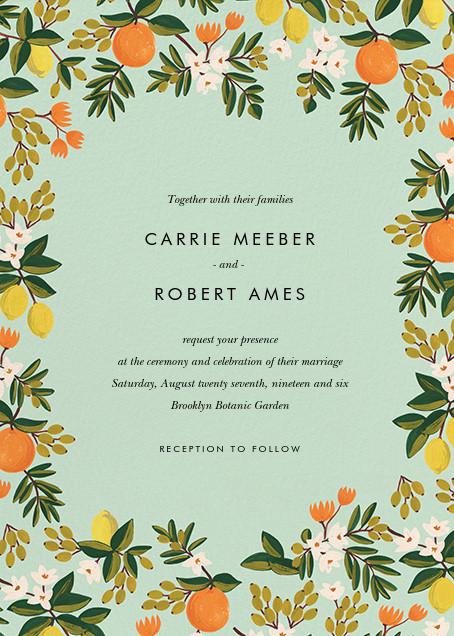 Citrus Orchard Suite (Invitation) - Mint - Rifle Paper Co. - Printable invitations