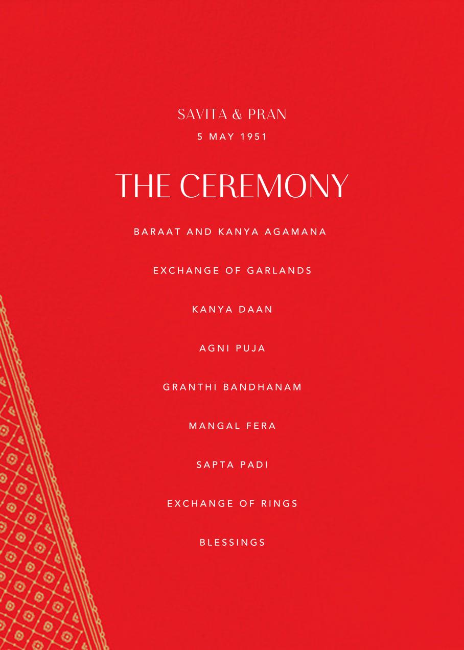 Choli (Program) - Red - Paperless Post - Menus and programs