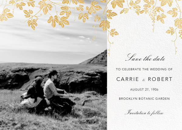 Vineyard II (Photo Save the Date) - Gold - Paperless Post - Destination