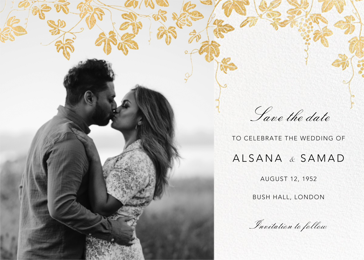 Vineyard II (Photo Save the Date) - Gold - Paperless Post - Photo