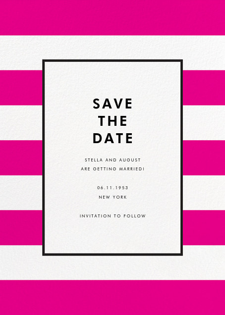 Stripe Suite (Save the Date) - Pink - kate spade new york - Save the date