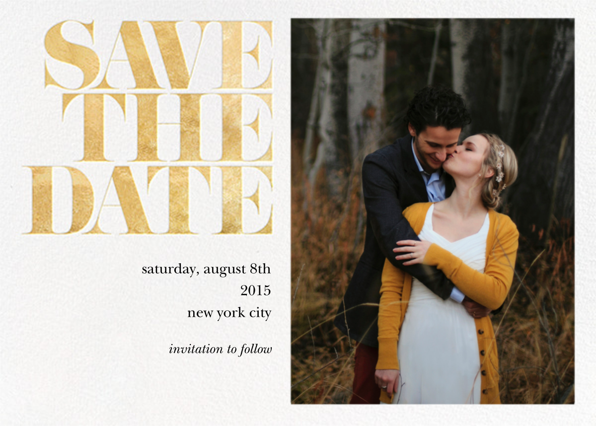 Vintage Book Save the Date (Photo) - Gold - kate spade new york - Designs we love