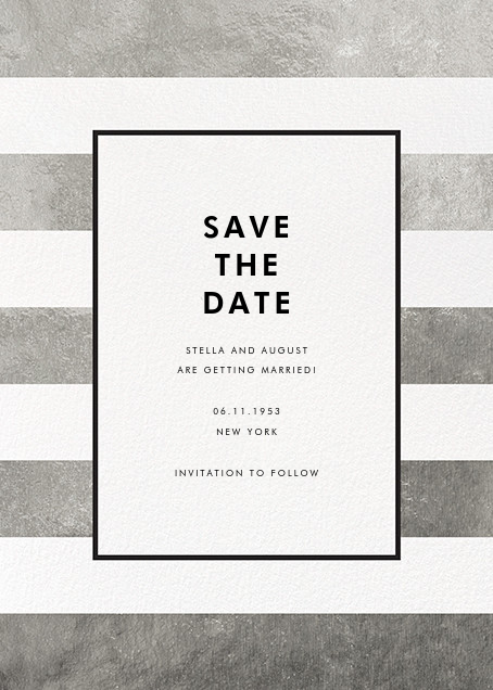 Stripe Suite (Save the Date) - Silver - kate spade new york - Save the date