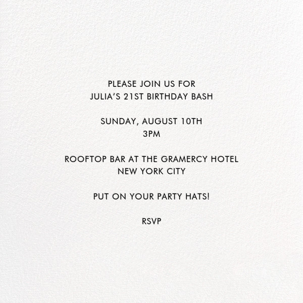 Pop Fizz Clink (Square) - White/Black - kate spade new york - Adult birthday - card back