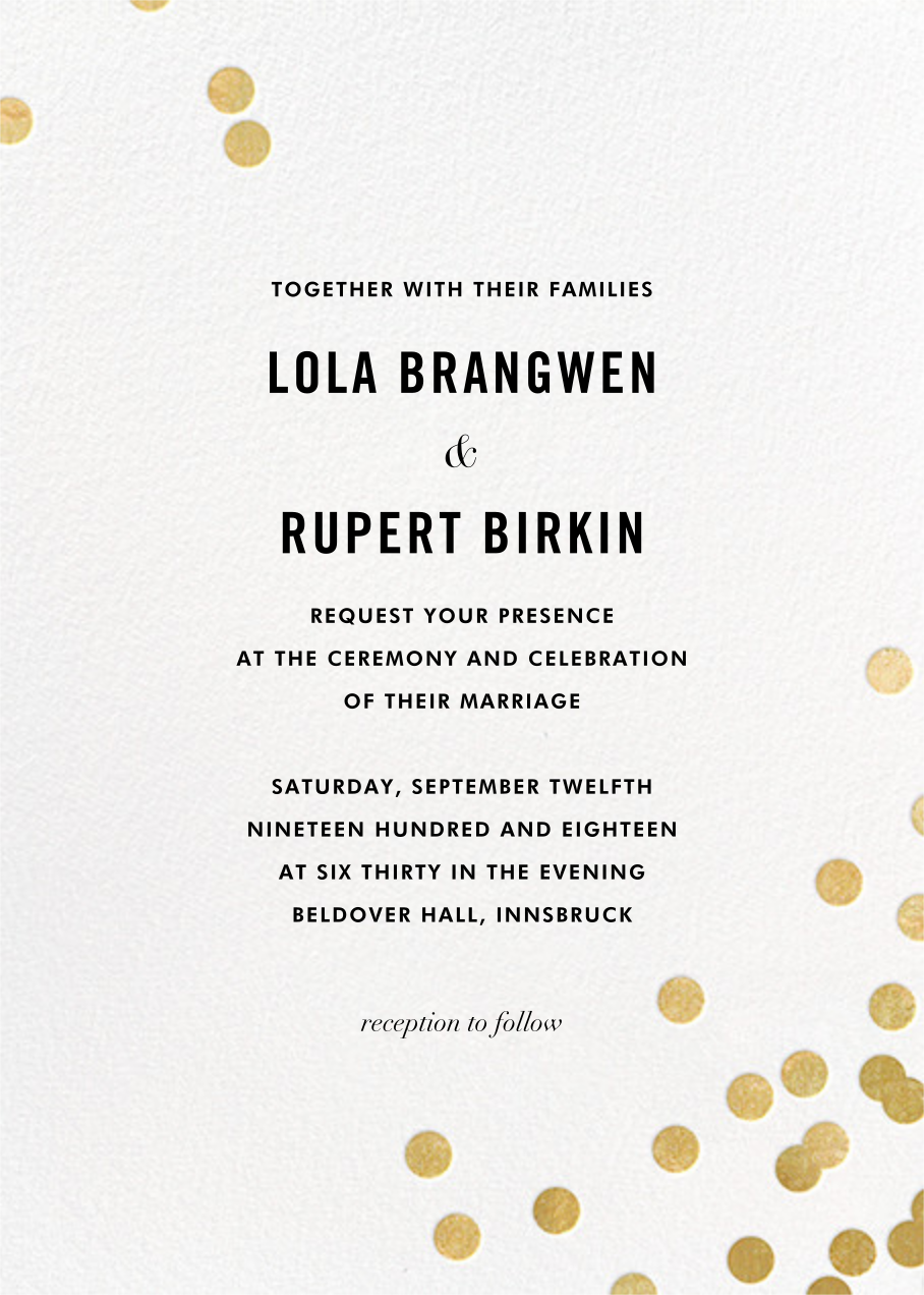 Confetti Invitation White Gold Online At Paperless Post