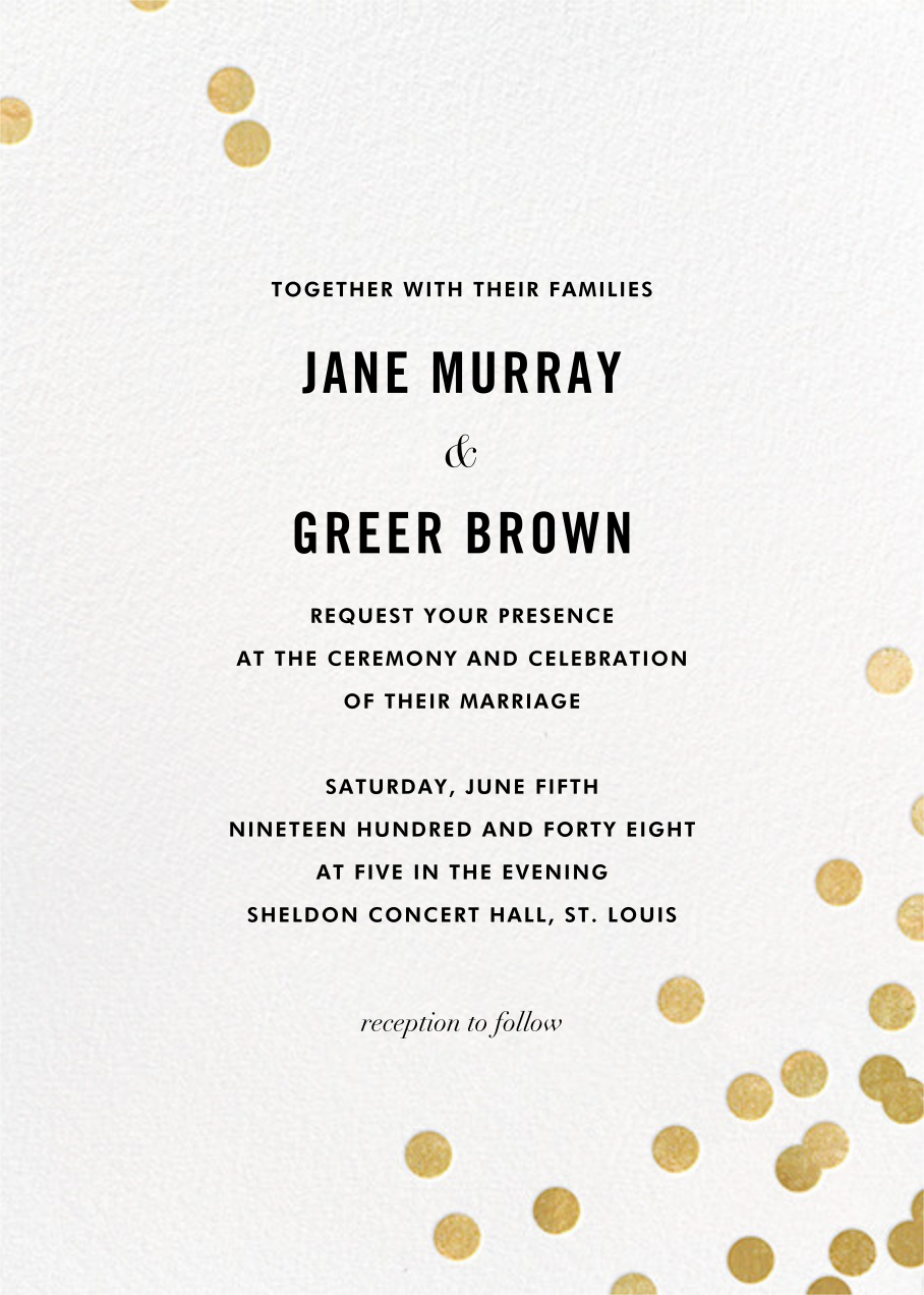 Confetti (Invitation) - White/Gold - kate spade new york - All
