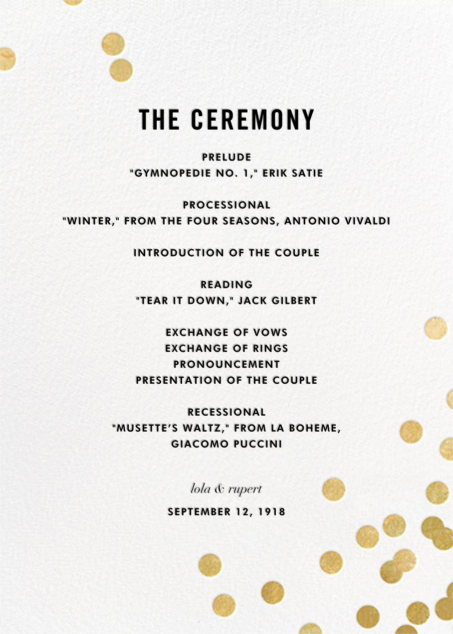Confetti (Program) - White/Gold - kate spade new york - Menus and programs
