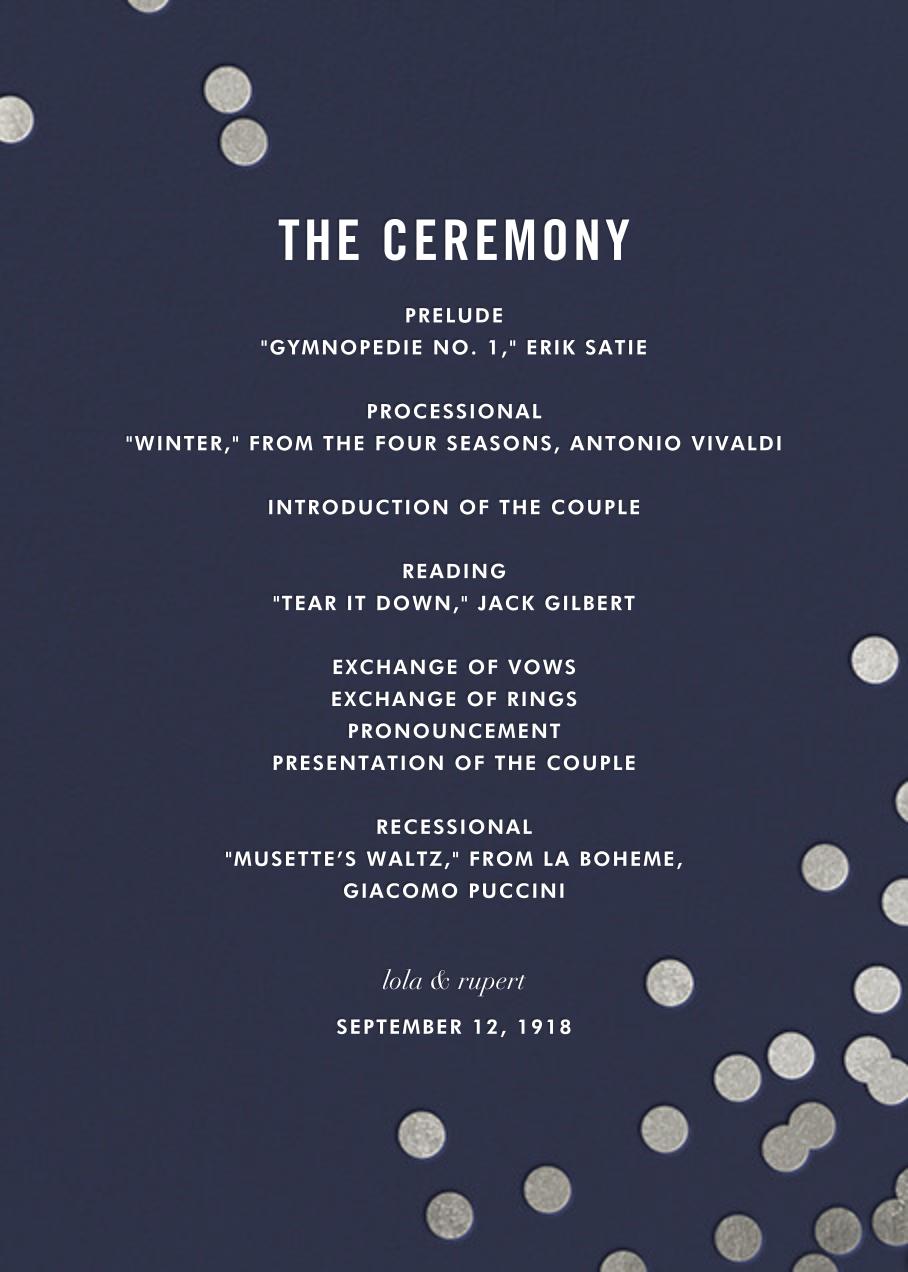 Confetti (Program) - Navy/Silver - kate spade new york - Menus and programs