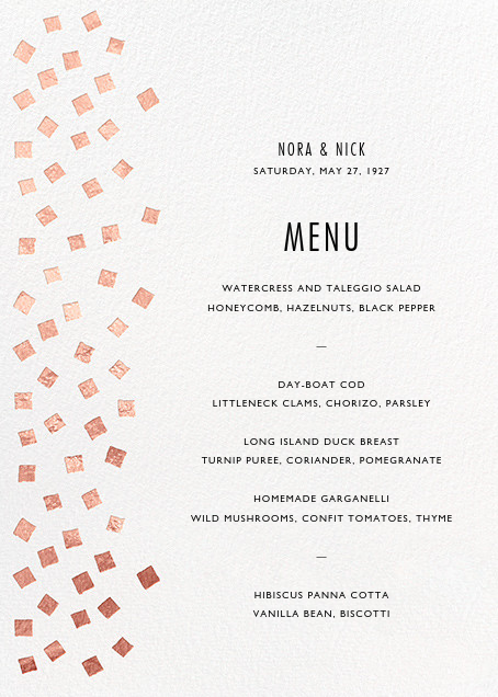 Fette (Menu) - Rose Gold/White - Kelly Wearstler - Menus