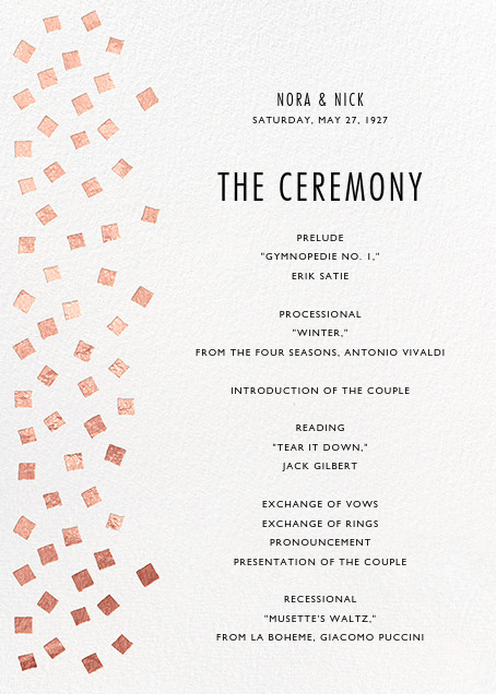 Fette (Program) - Rose Gold/White - Kelly Wearstler - Menus and programs