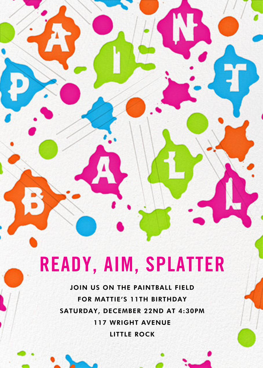 Splat Attack - Paperless Post - Kids' birthday