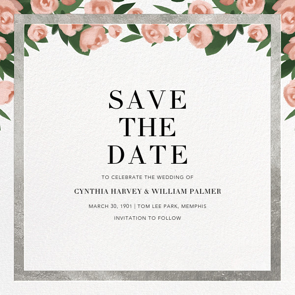 Teablossom (Save the Date) - Silver/Pink - Paperless Post - Save the date
