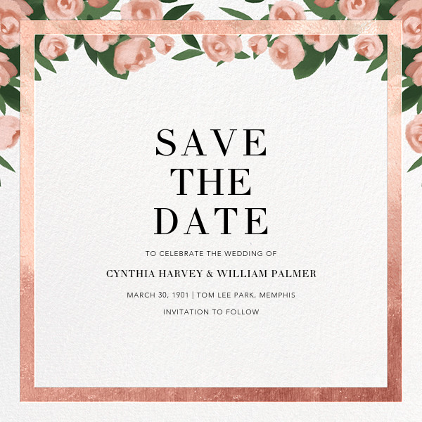 Teablossom (Save the Date) - Rose Gold/Pink - Paperless Post - Save the date