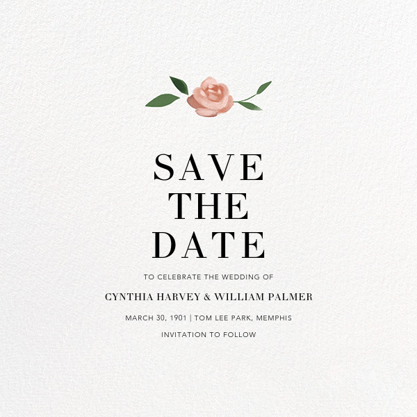 Teablossom (Photo Save the Date) - Rose Gold/Pink - Paperless Post - Photo  - card back