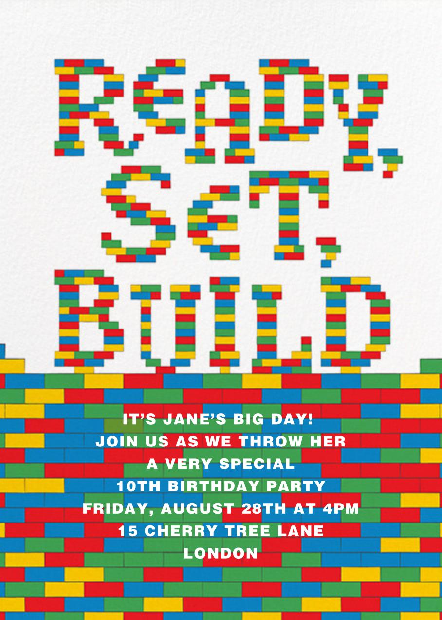 Ready, Set, Build - Paperless Post - Kids' birthday