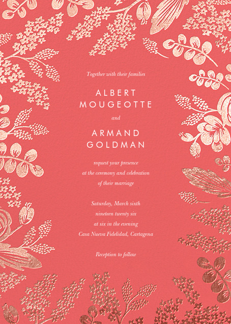 Heather and Lace (Invitation) - Coral/Rose Gold - Rifle Paper Co. - All