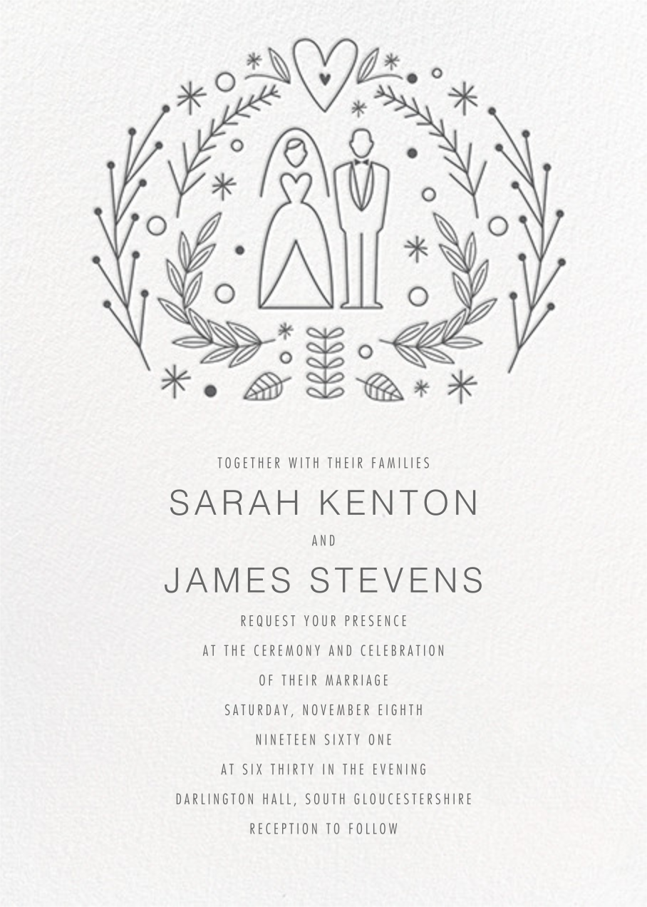 Iconic Bride & Groom (Invitation) - White/Charcoal - Paperless Post - All