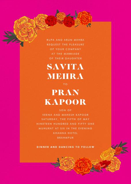 Benares (Invitation) - Bright Pink - Paperless Post - All