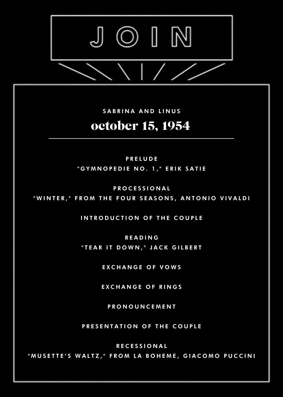 Chronology (Program) - Black - Paperless Post - Menus and programs