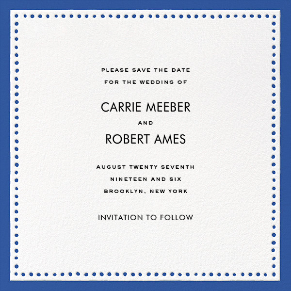Charlotte Street II (Save the Date) - Blue - kate spade new york - Save the date