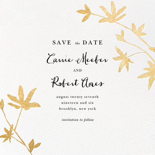 Oliver Park II (Save the Date) - White/Gold - kate spade new york - Save the date