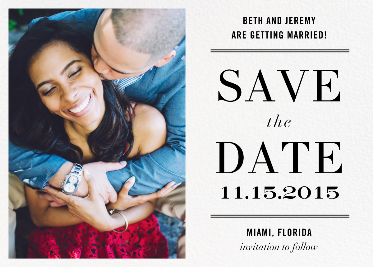 Typographic II (Photo Save the Date) - White - kate spade new york - Printable invitations