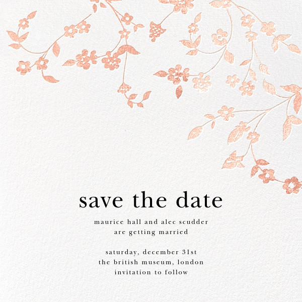 Floral Trellis (Save the Date) - Rose Gold - Oscar de la Renta - Save the date
