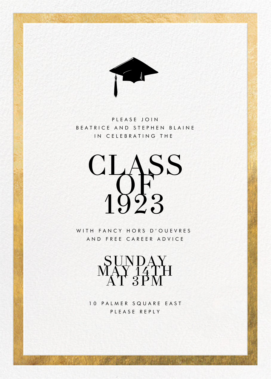 Editorial II - White/Gold - Paperless Post - Graduation party