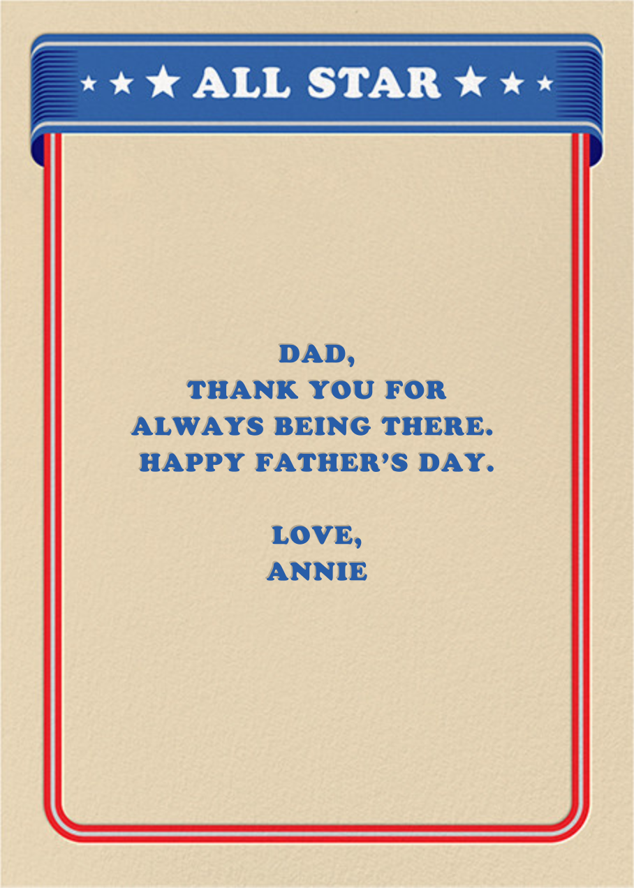All-Star - Paperless Post - Father's Day - card back