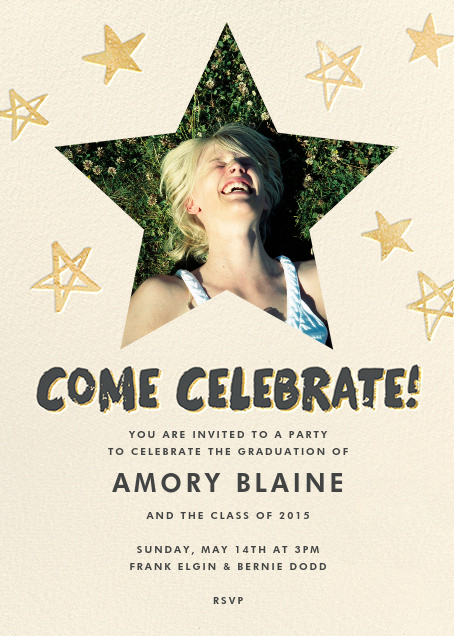 Reach for the Stars (Invitation) - Gold - Hello!Lucky - Graduation party