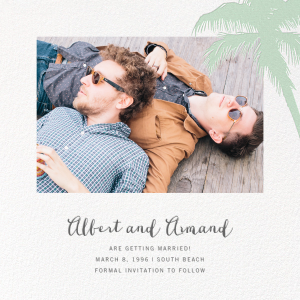 Tropical Palm (Photo Save the Date) - Mint - Paperless Post - Photo