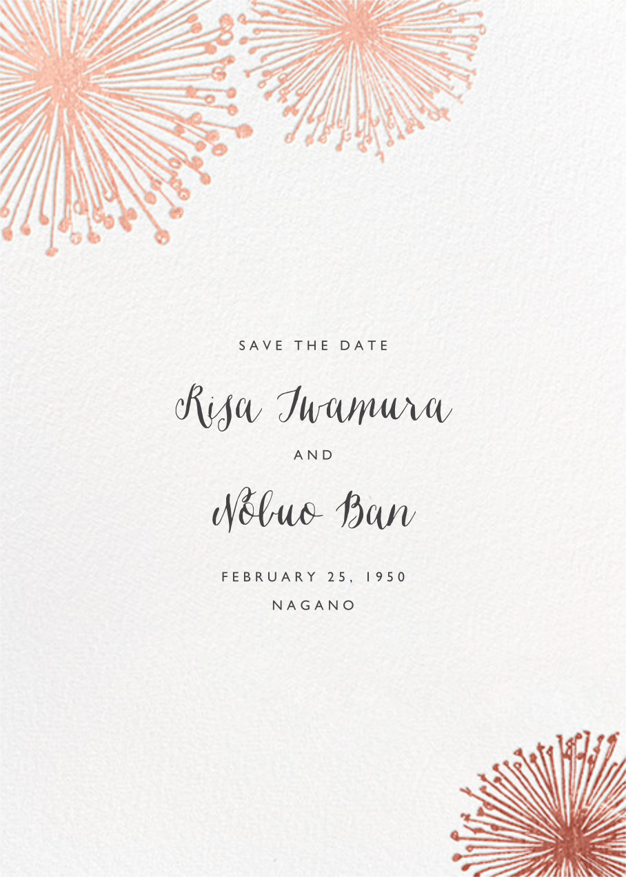 Dandelion (Save the Date) - White/Rose Gold - Paperless Post - Save the date
