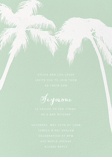 Tropical Palm - Mint - Paperless Post - Bat and bar mitzvah
