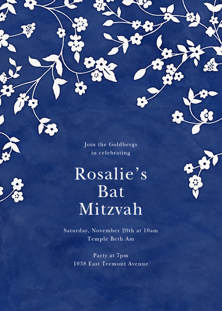 Floral Trellis II - Blue/White - Oscar de la Renta - Bar and bat mitzvah