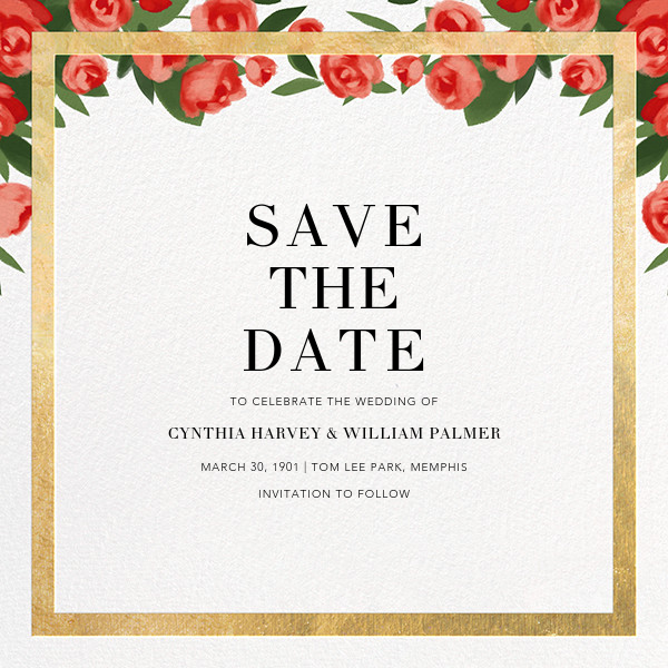 Teablossom (Save the Date) - Gold/Red - Paperless Post - Save the date