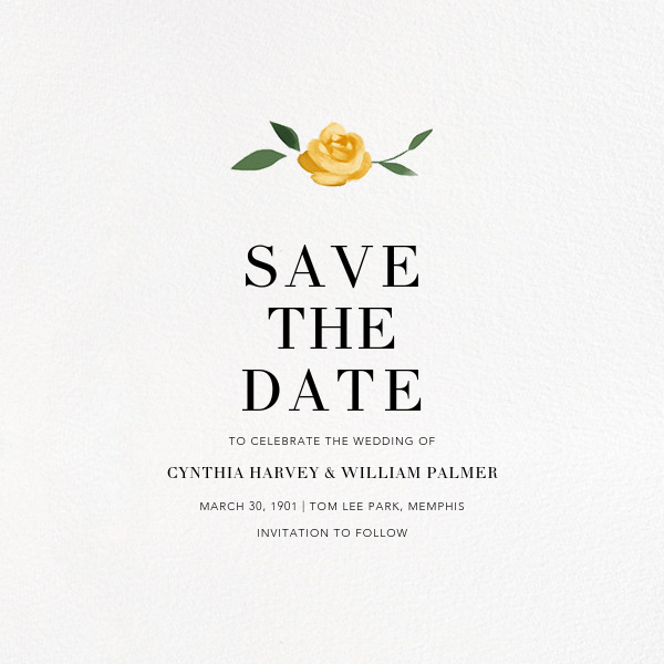 Teablossom (Photo Save the Date) - Gold/Yellow - Paperless Post - Photo  - card back
