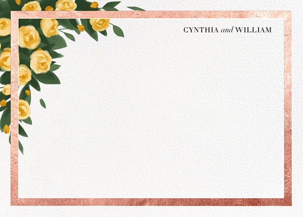 Teablossom (Stationery) - Rose Gold/Yellow - Paperless Post - Personalized stationery