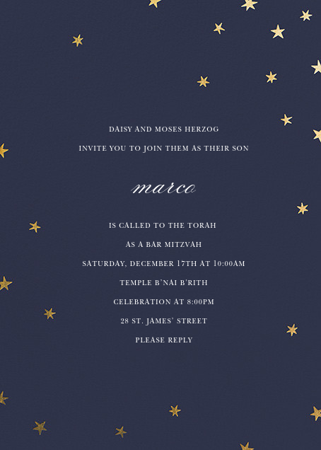 Nightly (Tall) - Navy/Gold - Paperless Post - Bar and bat mitzvah